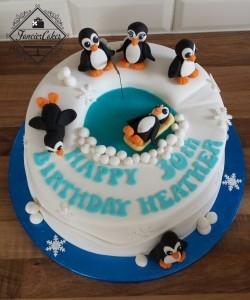 Penguin Themed Birthday Cake